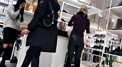 Leather, Milf blonde, Leather pants