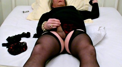 Stockings cum, Tied, Self bondage, Black stocking