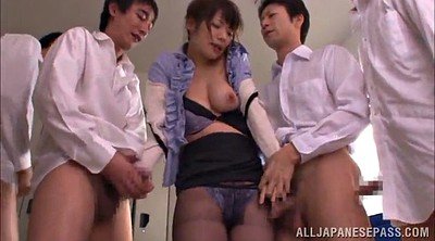 Asian babe, Pantyhose handjob