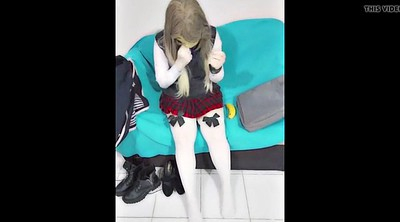Kigurumi, School girl, Rubber, Mask, Cosplay masturbation