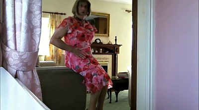 Crossdress, Crossdresser, Granny solo, Voyeur dressing