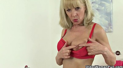 Granny, Stockings, Red, Stockings solo, Red pussy, Big pussy