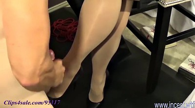 Leg, Mom cum, Mom handjob, Cum on tits