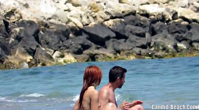 Beach, Big clit, Hidden couple, Nudist, Beach voyeur