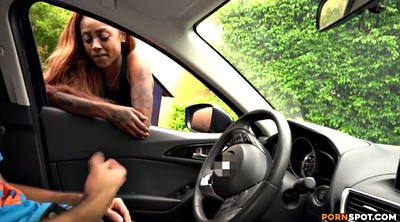 Car, Black handjob, Black woman