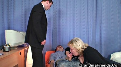 Mature pantyhose, Granny threesome, Granny double