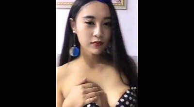 Chinese girl, Boobs, Live, Chinese flashing