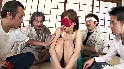 Hairy japanese, Blindfold, Small dick