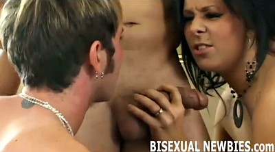 Gay kissing, First time threesome, First time gay, First kiss, Femdom threesome