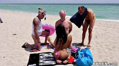 Beauty, Old men, Beach sex, Granny gangbang