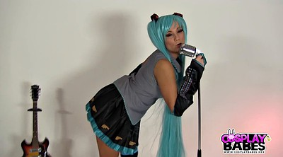 Cosplay, Blue hair, Cosplay masturbate, Small tits, Roleplay