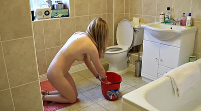 Toilet, Nude, Cleaning, Young solo, Sexy girl