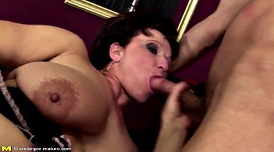 Creampie in pussy, Mature mom, Mature and boy, Boy and mature
