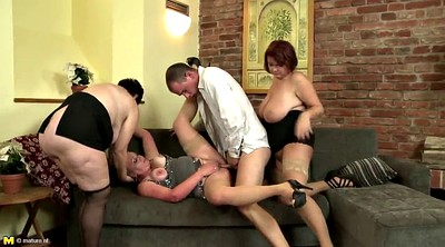 Mother, Granny group, Milf n boy, Mature group, Granny young boy, Sharing cock