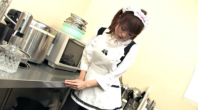 Japanese masturbation, Kitchen, Japanese maid, Hairy redhead