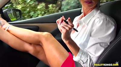 Mature feet, Car handjob, Blonde feet
