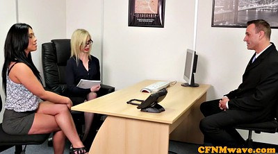 Three, Femdom handjob, Big mouth, Office sex, Big boss