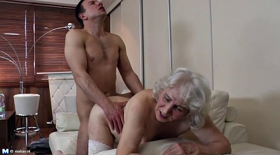 Amateur, Mature boy, Hairy granny