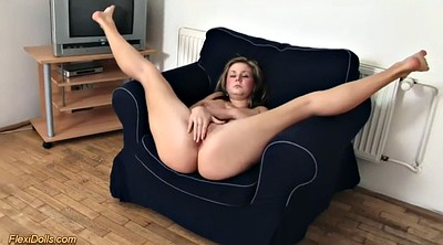 Flexible, Masturbating, Young pussy, Cute chubby, Blonde