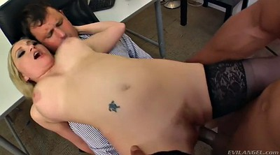 Office fuck, Sitting, Office lady, Hairy interracial, Cuckold blonde