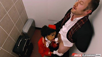 Toilet, Gloves, Stewardess, Big black cock