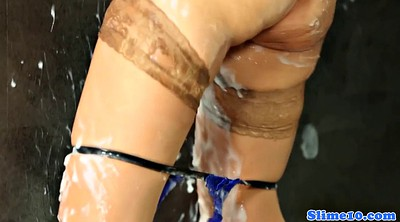 Slim, Asian facial, Rubber, Pussy rubbing