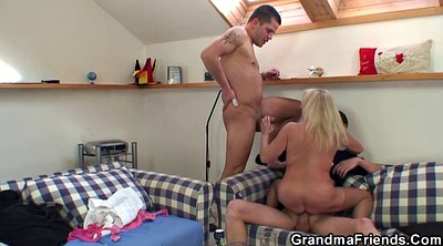 Grandma, Sucking, Old grandma, Old dick, Granny threesome, Young threesome