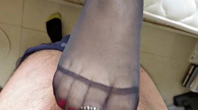 Footjob, Nylon feet, Footjob cumshot, Nylon footjob
