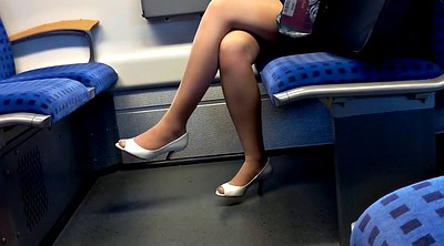Nylon foot, Train, Nylon foot fetish, Toes, Peeping, Nylon heels