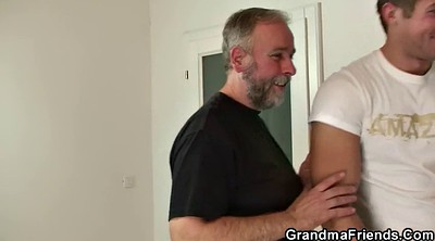 Mature swallow, Two old, Old pussy, Old gangbang, Very hairy, Mature gangbang