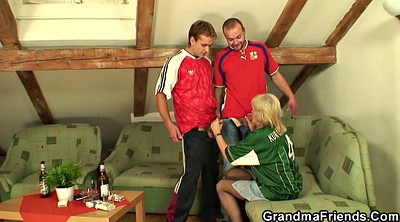 Granny, Mature threesome, Young mature