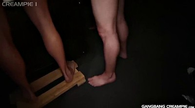 Gay gangbang, Super, Gay creampie, Blonde handjob