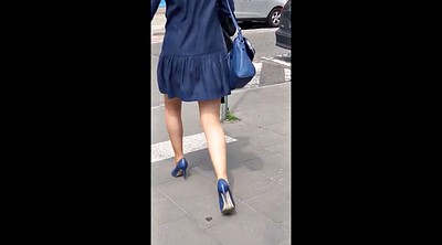 Legs, Hidden cam, Blue dress, Sexy leg