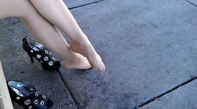 Public, Feet, Pantyhose foot, Public feet, Close-up