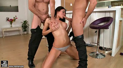 Facial, Brunette, Double anal