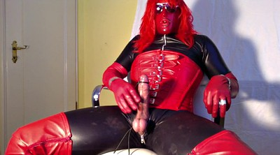 Boots, Crossdress, Gloves, Red, Leather, Leather gloves