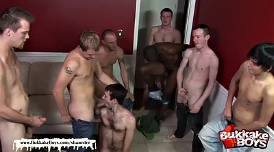 First anal, Boy, Interracial gangbang, Gay first, Bukkake gangbang