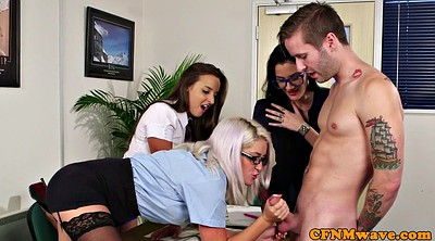 Cfnm, Lingerie, Three, Office handjob