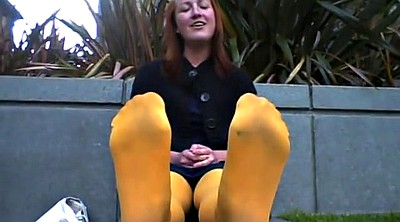 Nylon foot, Nylons, Smelly, Yellow