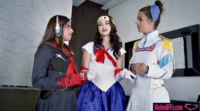 Cosplay, Foursome, Teen handjob