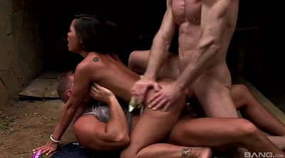 Double anal, Choked, Asian cowgirl
