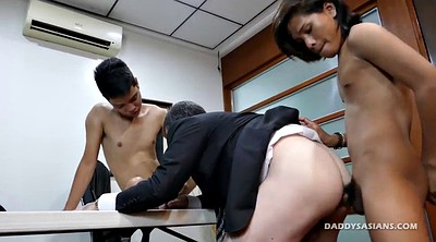 Gay asian, Old young, Trios gays, Trio, Old dad, Office threesome