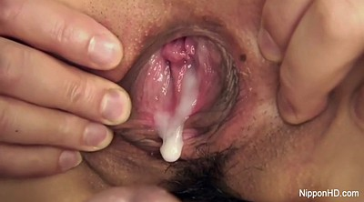 Hairy cumshot, Japanese threesome, Japanese schoolgirl, Japanese gangbang
