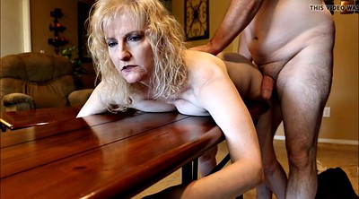 Mature wife, Table, Spank wife, Mature dildo, Spanking wife
