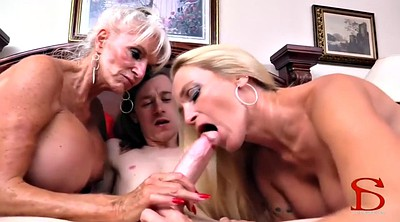 Watching porn, Mom threesome, Mom handjob