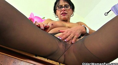 Mature nylon, Eva, British mature, Mature dildo