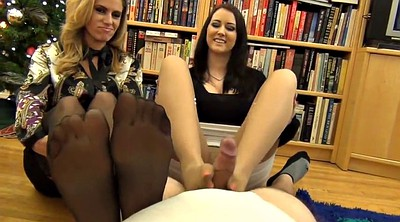 Footjob, Double, Pantyhose footjob, Alexis