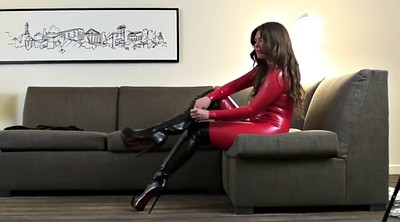 Boots, Red, Catsuit, Over, Hh
