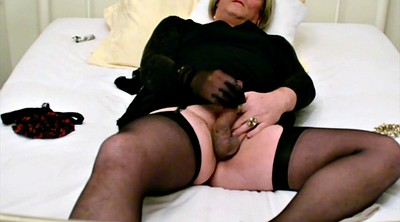 Self, Black stocking, Bondage orgasm