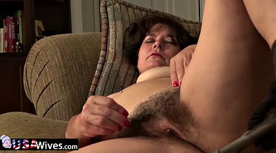 Hairy solo mature, Granny masturbation
